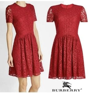 BURBERRY Christy Fit and Flare  Lace Dress In Red-M